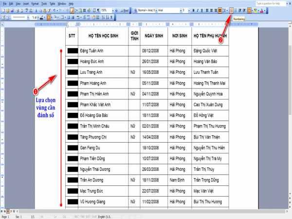 Tìm hiểu cách đánh số thứ tự trong word 2003